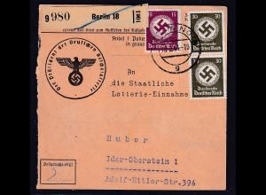 DR, Dienst-Paketkarte mit .Mi.-Nr. 139, 141 mit Zustellgebühr-Stempel!