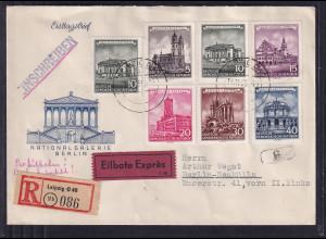 DDR FDC. Mi.-Nr.491-496 als portorichtige R-Eilbote-Fern-Brief.
