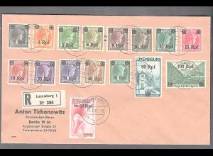 Dt. Besetzung 2. Weltkrieg, Luxemburg Mi.-Nr. 17-32 auf Satz-Brief.