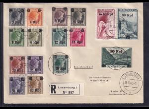 Dt. Besetzung 2. Weltkrieg, Luxemburg Mi.-Nr. 17-32 auf R-Satz-Brief.
