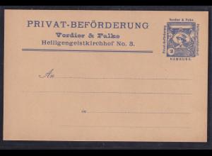 Privatpost, Verdier & Falke, Hamburg, 2 Pfg., ungebraucht.