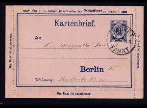 Privatpost,Packetfahrtkarte Berlin, Kartenbrief 3 Pfg., Blau, gelaufen.