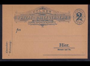 Privatpost, Correspondenz-Karte, Cöln, 2 Pfg. Blau, ungebraucht.