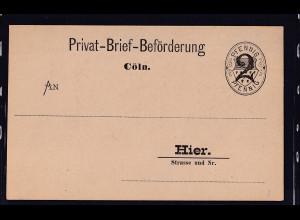 Privatpost, Privat-Brief-Beförderung, Cöln, 2 Pfg, ungebraucht.
