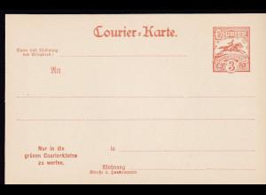 Privatpost, Courier-Karte, Barmen Elberfeld, 3 Pfg., Braun, ungebraucht.