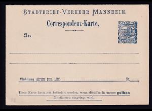 Privatpost, Correspondenz-Karte, Manheim, 2 Pfg., ungebraucht.