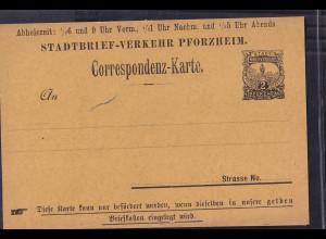Privatpost,Correspondenz-Karte, Pforzheim, 2 Pfg., ungebraucht.