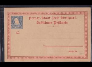 Privatpost, Jubiläums-Karte, Stuttgart, 3 Pfg. Blau, ungebraucht.