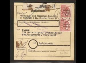 SBZ, Mi.-Nr. 192 MeF auf Paketkarte.