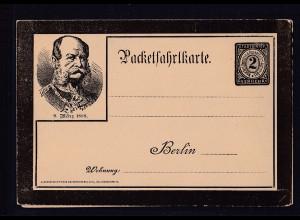 Privatpost, Packetfahrtkarte, Berlin 9 März 1888, 2 Pfg. Schwarz, ungebraucht