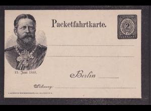 Privatpost, Packetfahrtkarte Berlin 15 Juni 1888, 2 pfg. Schwarz, ungebraucht.