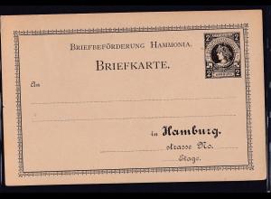 Privatpost,Hamburg, Briefkarte 2 Pfg. Schwarz, ungebraucht