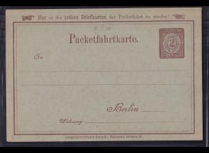 Privatpost, Packetfahrtkarte Berlin, 2 pfg. braun, ungebraucht