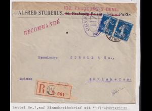Frankreich, zensierte R-Brief in der Schweiz, Zettel Nr. 1, mit 117 Pontarlier
