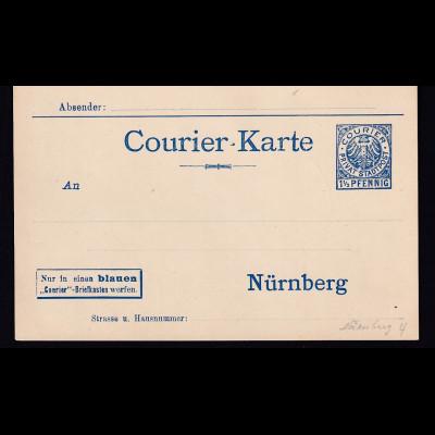 Privatpost, Courier-Karte Nürnberg, 1,5 Pfg., Blau, ungebraucht.