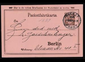 Privatpost, Packetfahrtkarte Berlin,1889, 2 Pfg. Braun, gestempelt.