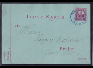 Privatpost, Lloydkarte, Berlin,1886, 2 Pfg, rot, gestempelt.