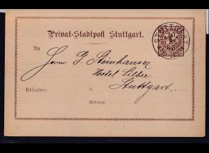 Privatpost,Stadtpost Stuttgart 1887, 2 Pfg. Braun, gestempelt.