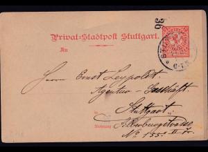 Privatpost, Stadtpost Stuttgart 1888, 2 Pfg. rot, gestempelt.