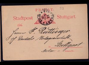 Privatpost, Stadtpost Stuttgart 1890, 3 Pfg., gestempelt.