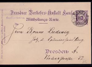 Privatpost, Mittheilungskarte, Hansa-Dresden 1896, 3 Pf., gestempelt.