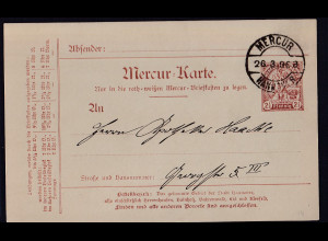 Privatpost, Mercur-Karte, Hannover 1896, Ganzsache 2,5 Pf., gestempelt.