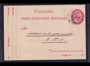 Privatpost, Stadtpost, Stuttgart 1896, 2 Pfg. rot, gestempelt.