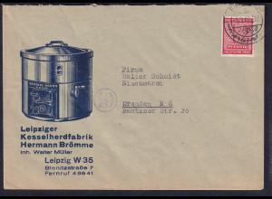 DR. Reklame-Brief, EF. Mi.-Nr.119 x, Leipziger Kesselherdfabrik Hermann Brömme.