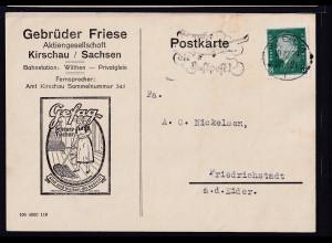 DR. Reklame-Karte, Gefag Scheuer-Tücher, Gebrüder Friese AG. Krischau / Sachsen