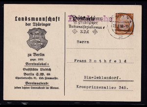 DR. Reklame-Karte, Landmannschaft bei Thüringer zu Berlin
