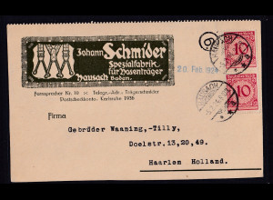 DR. Reklame-Karte, Johann Schmider, Spezialfabrik für Hosenträger, Karlsruhe