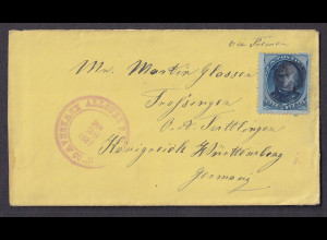 USA-Brief, von Allouez nach Königreich Württemberg 1881