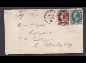 USA-Brief, von Buffalo - Württemberg 1885