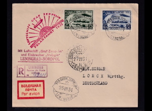 SU.-Zeppelin-Brief, Mi.-Nr. 402-405 B auf eingeschriebenem Brief bzw Karte.