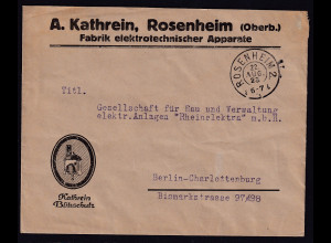 DR. Reklame-Brief, Fabrik elektrotechnischer Apparate, A.Katherin, Rosenheim.