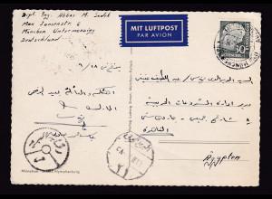 Bund Luftpost-Fern-Karte mit EF. Mi.-Nr. 187 nach Ägypten.
