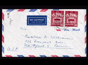 Berlin, Luftpost- Fernbrief MeF. Mi.-Nr. 111 nach USA. .