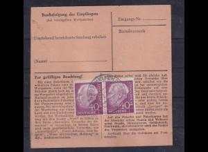 Bund ,Paketkarte mit Me.F. Mi.-Nr. 188/188, Befund SchlegelBPP.