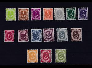 """Bund ,""""Ziffer mit Posthorn"""" Mi.-Nr. 123-138, postfrisch, FA, SchlegelBPP."""