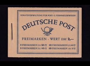 Berlin 1952 Markenheftchen Berliner Bauten, Mi.-Nr. 2, postfrisch, FA Schlegel