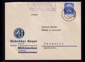 Reklame-Brief, Metall- u. Bronzefarbenwerk, Geyer GmbH, Mühlstetten bei Nürnberg