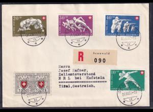 Schweiz, R-Ausland-Satz-Brief nach Östereich mit Mi.-Nr. 545-549