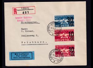 Schweiz, R-Luftpost-Brief nach Solothurn mit Mi.-Nr. 291-292