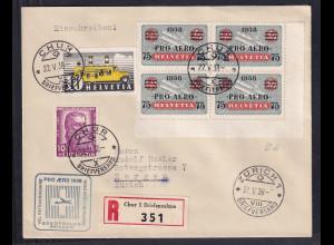 Schweiz, R-Fernbrief nach Zürich mit Mi.-Nr. 311,315, 4x 325