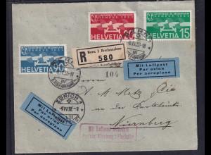 Schweiz, R-Ausland-Luftpost-Brief mit Mi.-Nr. 256,258