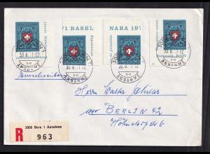 Schweiz, R-Ausland-Brief mit MeF. Mi.-Nr. 946
