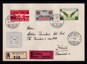 Schweiz, R-Eilbote-Fernbrief mit Mi.-Nr. 234 x u.a.