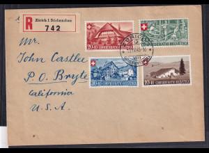 Schweiz, R-Ausland-Satz-Brief nach USA, mit Mi.-Nr. 461-63