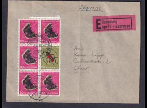 Schweiz, Eilt-Fernbrief mit Mi.-Nr. H-Blatt 46,Umschlag mit leichtem mittel Bug.