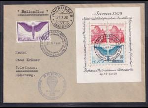 Schweiz, Fernbrief mit , Mi.-Nr. 191 und BLock 4